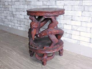 アジアン家具 Asian Furniture 龍 木彫り細工 サイドテーブル 花台 ●