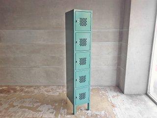 リオン LYON スチールロッカー ダイアカット 5段 5-TIER LOCKER-DIA 青緑カラー light teal P.F.S取扱 ♪