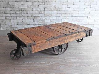 Nutting Truck USビンテージ インダストリアル トロリーテーブル 車輪付き サイドテーブル ファクトリーテーブル ●