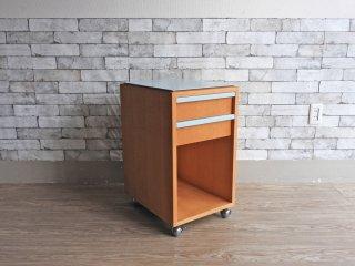 ショカ syoca デスク ワゴン キャビネット Desk wagon ライトブルー スチール天板 2ドロワー キャスター付 ●