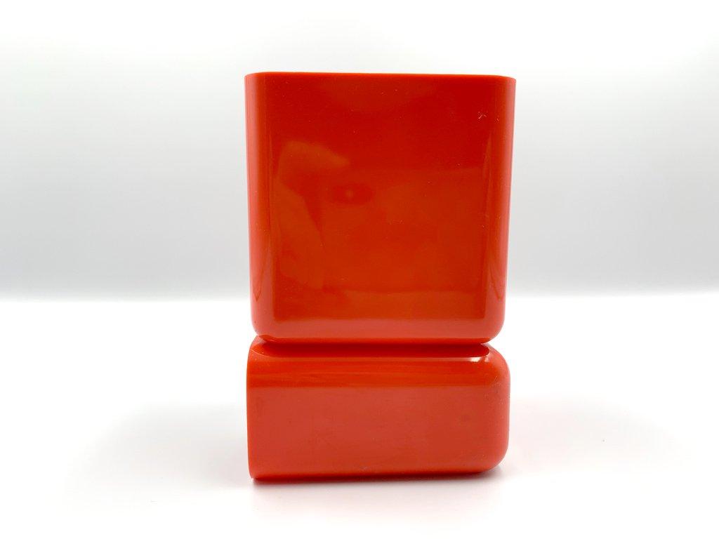 70's ヴィンテージ HOF デスク オーガナイザー ペン立て クリップケース ミッドセンチュリーデザイン オレンジ ◎