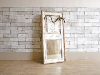 フランス ビンテージ French Vintage ウォールミラー シャビー ホワイトペイント 壁掛け鏡 ●