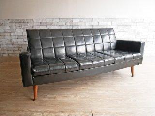 ビンテージ vintage 3シーター ソファ PVCレザー ミッドセンチュリー レトロ ブラック 現状品 ●