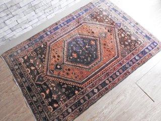 イラン製 ウール100% ラグ 205×140cm マット ペルシャ絨毯 ハマダーン Hamedan ●