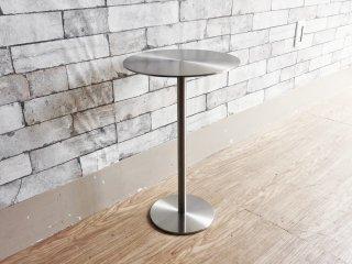 モダンデザイン ステンレス ラウンドサイドテーブル ランプスタンド Φ30cm シンプルモダン ●