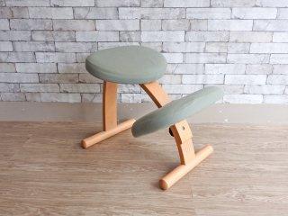リボ Rybo バランスイージー Balans EASY デスクチェア 学習椅子 北欧 ノルウェー ライトグリーン カバー付き ●