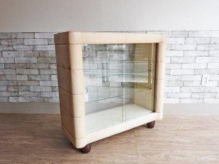 スペースエイジデザイン レトロショーケース ディスプレイケース 陳列棚 両面ガラス ビンテージ ●