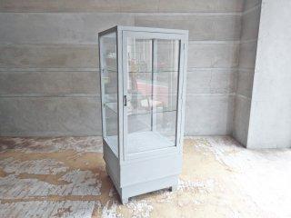 ビンテージ 古い木製 ペイント ショーケース ディスプレイケース パンケース 陳列棚 5面ガラス シャビーシック 店舗什器 ♪
