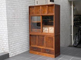 ジャパンビンテージ 水屋箪笥 食器棚 カップボード 引き戸 古家具 木味 ■