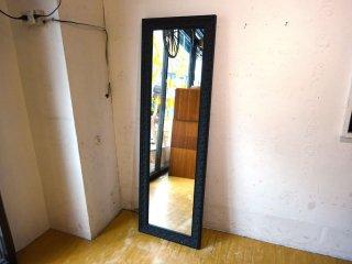 バロック調スタンドミラー ウォールミラー アンティークブラック デコレーションウッドフレーム 立てかけ鏡 姿見 ★