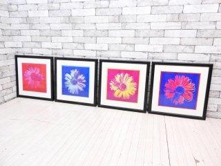 オールポスターズ All Posters アンディ・ウォーホル Andy Warhol アートフレーム ポスター デイジー 4点セット 52×52cm 額装品 インテリア ●