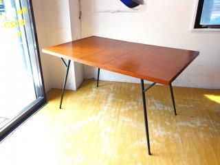 ビンテージ 木製天板 × アイアンフレーム エクステンション ダイニングテーブル 伸長式 インダストリアルデザイン ★