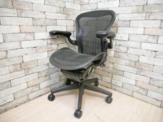 ハーマンミラー Herman Miller アーロンチェア Aeron Chair Aサイズ クラシックカーボン グラファイトベース デスクチェア 現状品 ●
