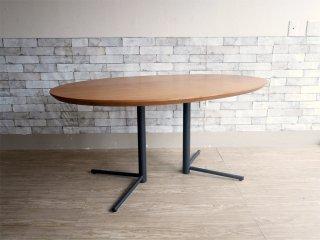 アクタス ACTUS オウン エフ OWN-F ビッグサイドテーブル オーバル ダイニングテーブル ウォールナット × スチール ブラック 現行品 定価¥82,500- ●