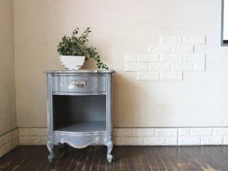 American Drew Furniture ナイトテーブル ロココ サイドテーブル シャビーシック ブルー ◎