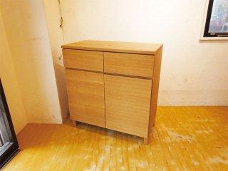 無印良品 MUJI 木製 サイドキャビネット タモ材 廃盤 収納家具 シンプル ナチュラル 北欧デザイン ★