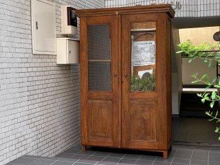オールドチーク old teak 無垢材 ガラスキャビネット カップボード 古材 ビンテージ ■