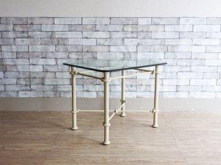 イーセンアーレン Ethan Allen ガラス × アイアン サイドテーブル ガーデンテーブル ペインテッド ヨーロピアンアンティークスタイル ●