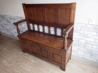 UKビンテージ Vintage チャーチベンチ 教会椅子 アームベンチ 2人掛け W134cm 座面開閉 英国アンティーク ●