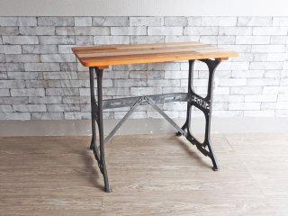 インダストリアルスタイル 古材天板 × ビンテージ シンガー ミシン脚 テーブル デスク SINGER 脚踏み 工業系 ●