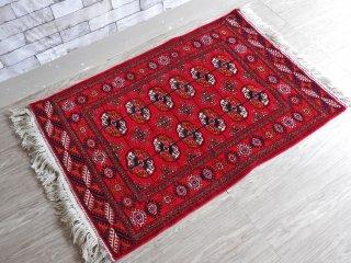 トルクメニスタン製 ブハラ絨毯 トルクメンラグ 赤系 ウール 123×83cm タグ付き ●