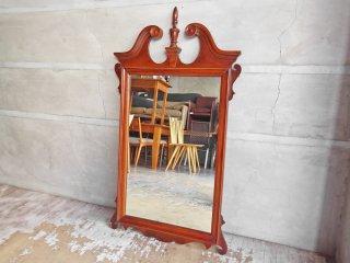 US ビンテージ ウォールミラー ウッドフレーム 壁掛け 鏡 アメリカ製 クラシカルデザイン ♪