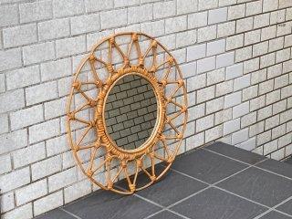 ビンテージ ラタン ウォールミラー 壁掛け 鏡 ■