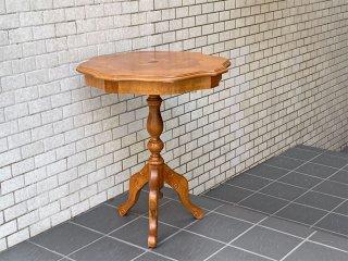 ヨーロピアン クラシカル 象嵌 ラウンド サイドテーブル 西洋家具 ■