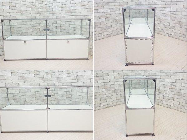 ユーエスエムハラー USM Haller モジュラーファニチャー ハラーシステム キャビネット 2列2段 ホワイト ガラスショーケース + 旧型ドロップダウンドア×2 定価約34万円 ●