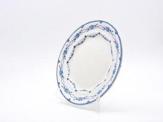 グスタフスベリ Gustavsberg オリンプ Olymp プレート Φ21.5cm ホワイト×ブルー バラ柄 1916-27年 スウェーデン 北欧ビンテージ ●