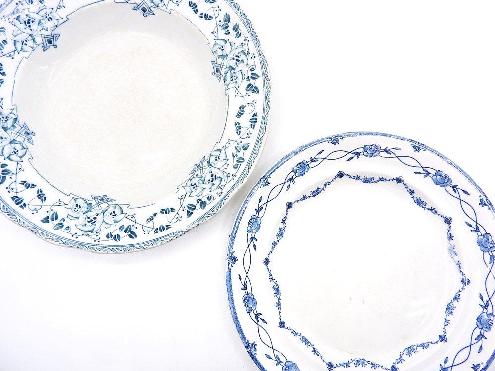 グスタフスベリ Gustavsberg アモル Amor スーププレート Φ23.5cm ホワイト×ブルー バラ柄 1909-27年 スウェーデン 北欧ビンテージ ●