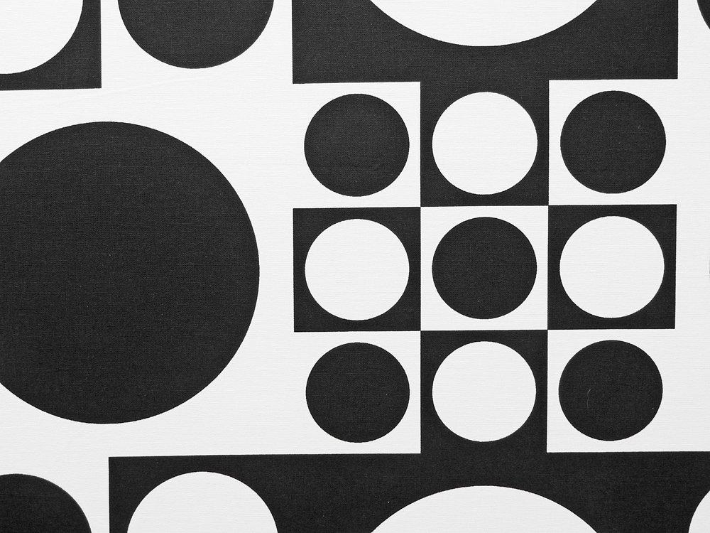 ヴェルナー パントン Verner Panton ジオメトリック B1サイズ ファブリック パネル ブラック 木枠 ウォール インテリア ●