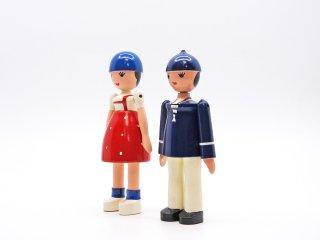 ビンテージ カイボイスン Vintage Kay Bojesen Lise & Ole セット 木製 人形 フィギュア 男の子 女の子 希少 デンマーク 北欧雑貨 ●