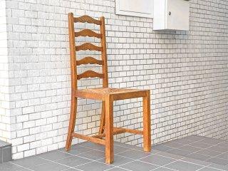 フランスビンテージ French Vintage ラダーバックチェア ladder back chair ダイニングチェア ラッシ編み ラッシシート B ■