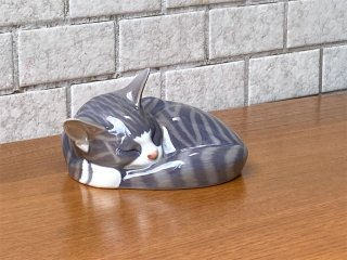 ロイヤルコペンハーゲン ROYAL COPENHAGEN 眠り猫 陶製 フィギュリン 置物 北欧 デンマーク ■