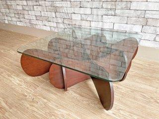 イーアンドワイ E&Y マトリックステーブル MATRIX TABLE リビングテーブル センターテーブル ダークブラウン ガラス プライウッド Sサイズ ●