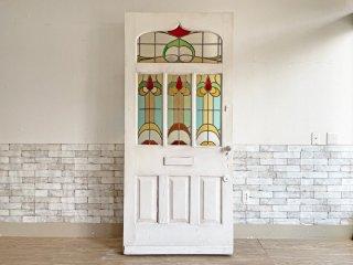 ヨーロピアンビンテージ European vintage シャビーシック 特大 ステンドガラス × 木製 ドア 建具 ホワイト アンティーク ●