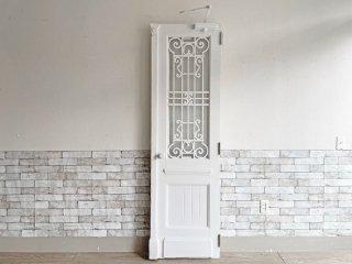 ヨーロピアンビンテージ European vintage シャビーシック ダイヤガラス × 木製 格子 ドア 建具 ホワイト アンティーク ●