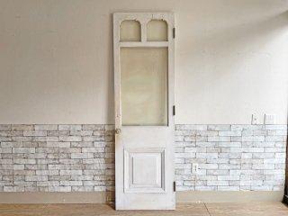 ヨーロピアンビンテージ European vintage シャビーシック エッチングガラス × 木製 ドア 建具 ホワイト アンティーク ●