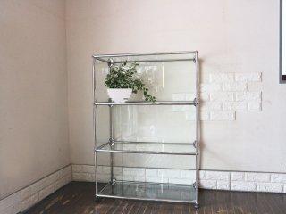ユーエスエムハラーシステム USM Haller オープンシェルフ オープンラック 3段 ガラス製 本棚 飾り棚 MoMA スイス製 ◎