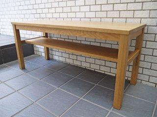 無印良品 MUJI 木製ベンチ ローテーブル オーク無垢材  板座 ナチュラル ■