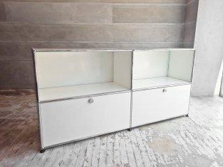 USM モジュラーファニチャー Modular Furniture ハラー Haller サイドボード キャビネット 2列2段 ホワイト 旧式 ドロップダウンドア×2 参考価格228,768円 ♪