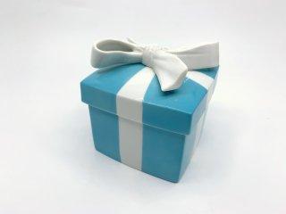 ティファニー Tiffany & Co. ブルーリボン ブルーボウ ボックス ラージサイズ 小物入れ 陶器 補修痕有 現状特価品 ●
