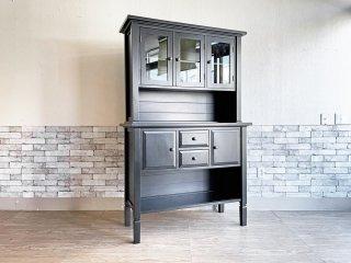 クレイト&バレル Crate&Barrel ブラックペイント カップボード キッチンボード 食器棚 アメリカ USA ●