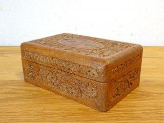 UKアンティーク インレイ 彫刻 木味 小花柄 ジュエリーボックス 木箱 小物入 象嵌細工 イギリス ★