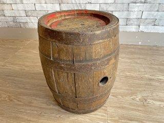 古い木味のワイン樽 サイドテーブル ナイトテーブル 店舗什器 カフェ バー ディスプレイ インテリア 空樽 小型 LUST COURTRAI 現状特価品 ●