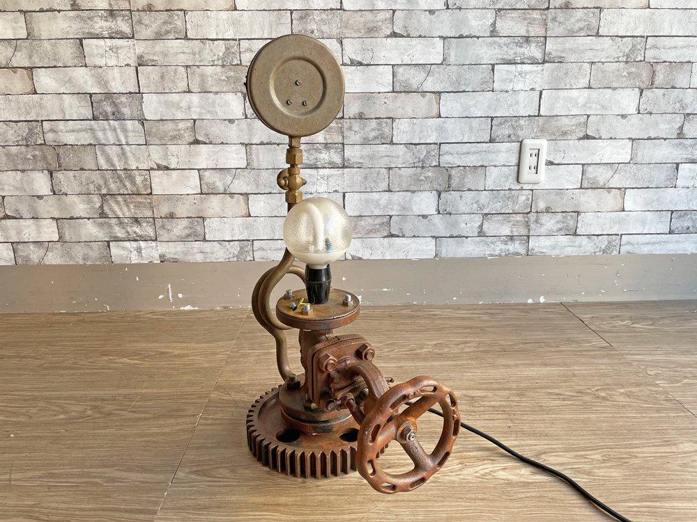インダストリアルデザイン industrial design ビンテージ テーブルランプ 歯車 メーター リメイクアイテム  ●