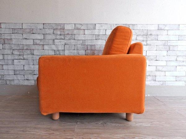 無印良品 MUJI ウレタンクッションソファ スリムアーム 1シーター カバーリング オレンジ ●