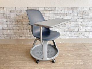 スチールケース Steelcase ノード node ミーティングチェア オフィスチェア 可動式サイドテーブル付 ネイビー ●