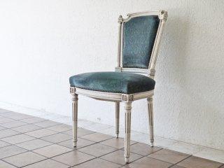 フランスアンティーク French Antique サロンチェア シャビーシック ホワイト×ブルー サイドチェア クラシカルデザイン ◇